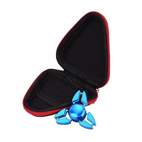Kolylong Gift For Fidget Hand Spinner Triangle Finger Toy Focus ADHD Autism Bag Box Case (Red)
