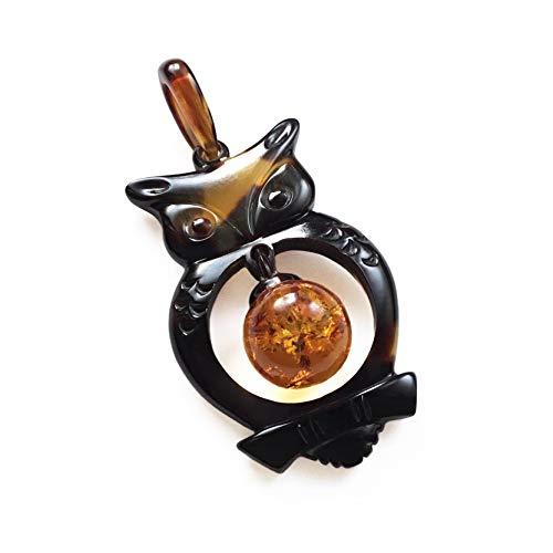 天然工房 べっこう屋さん 本べっ甲 ペンダント トップ バラフ 可愛い 梟 フクロウ デザイン 琥珀 丸玉 付き 011127-Pe2