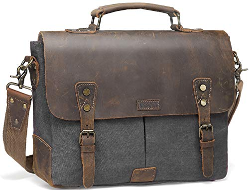 Messenger bag for men,Vaschy Vintage Leather Canvas Satchel 14in Laptop Crossbody Shoulder Bag