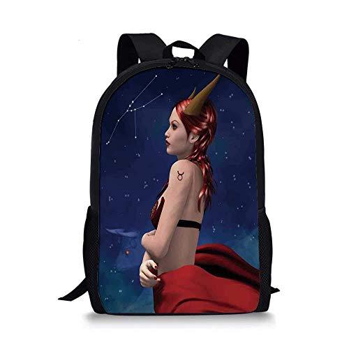 AOOEDM Backpack Astrología Elegante Mochila Escolar, Tauro Chica con Cuernos Maléfica Zodiaco Estrellas Venus Belleza Diseño Gráfico Decorativo para Niños, 11
