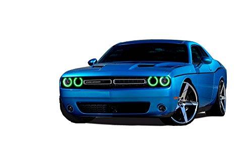 FLASHTECH for Dodge Challenger 15-17 Green Single Color LED Halo Ring Headlight Kit