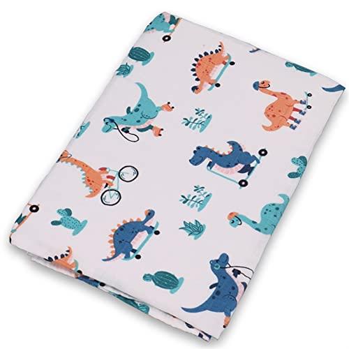 TingLiao Bamboo Cotton Baby Blankets Newborn Soft Baby Blanket Muslin Swaddle Wrap Feeding Burp Cloth Towel Scarf Baby Stuff 60 60cm Soft Skin- Friendly Care Baby Tender Skin (Color : Dinosaur)