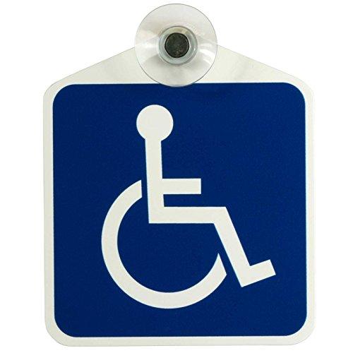 """Schild, Autoschild Rollstuhl/Rollstuhlfahrer/Behindertentransport"""" mit Saugnapf, 1,1mm wetterfestes Material 100 x 120 mm groß, von innen oder außen"""