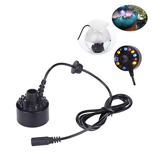 Zeerkeer12 LED Ultraschall Nebler Hersteller LED Nebel Nebelmaschine Zerstäuber Diffuser Mist Maker Geeignet für Innen- oder Außenbrunnen, Mini-Wasserspiele und Büroanwendungen
