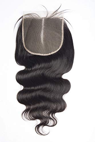 Maxine Body Wave 6x6 Free Part Lace Closure Virgin Brazilian Human Hair Pre-plucked Lace Closure with Baby Hair (12 inches,Natural Color)