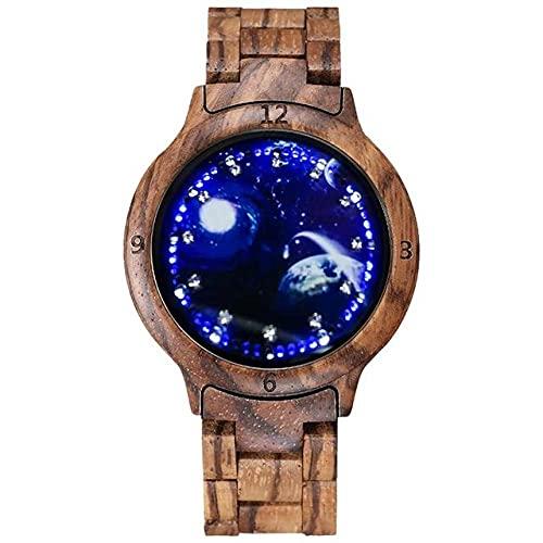 GIPOTIL Reloj de Madera Colorido para Hombre Pantalla LED única Pantalla táctil de luz Reloj para Hombre Reloj de Mujer Reloj de visión Nocturna Relojes de Pulsera de Moda, Madera de Cebra