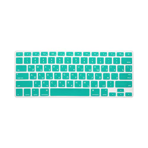 10 Colours US Edition Russian Keyboard Protective Film for Macbook Air Pro Retina 13 Inches Laptop Skin Cover for Mac Book Gel Cas-White Blue