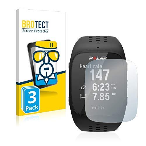 BROTECT Protector Pantalla Compatible con Polar M430 Cristal Templado (3 Unidades) Dureza 9H