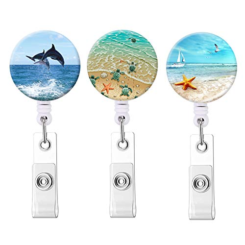 Nurse Badge Reel Retractable ID Badge Holder Reels with Alligator Clip Name Decorative Badge Reel Clip on Card Holders (Whale & Starfish & Turtle / 3 Pack)