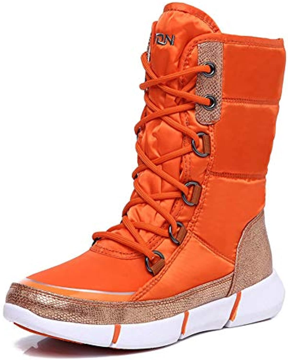 T-JULY Cotton Padded shoes Tall High Lace Up Winter Warm Fur Snow Boots Woman Waterproof Velvet Winter Snow Boots