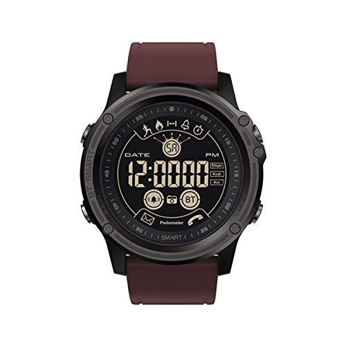 PLUIEX Reloj Inteligente Rastreador Deportivo Cronómetro Reloj Inteligente 5ATM Control Remoto a Prueba de Agua Llamada SMS Recordatorio Reloj Inteligente Bluetooth 4.0, Rojo