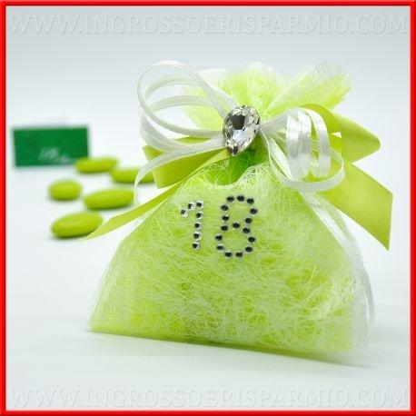 Sacchetto portaconfetti verde per confettate in tulle e TNT bianco decorato con fiocco e cuoricino, numero 18 in strass e confetti Bomboniere compleanno diciotti anni confettate(12 pz. con confetti)