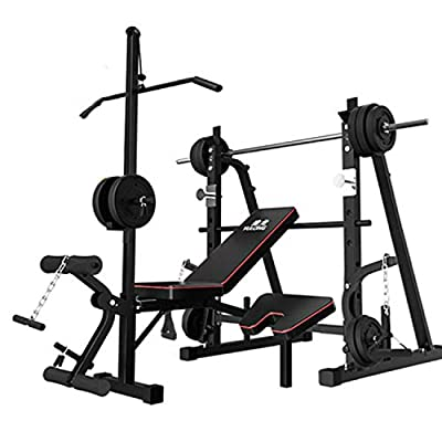 aiyu Adjustable Weight Bench with Squat Rack, Leg Extension, Preacher Curl, Utility Weight Bench for Full Body Workout-Multi-Purpose Foldable for Home Gym