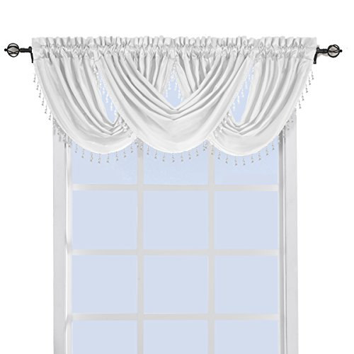 White One Soho Waterfall Window Treatment Valance Measure 57 x 37, 100% Polyester