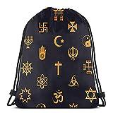 Kordelzug-Taschen mit weltweiten religiösen Symbolen für Fahrrad, Unisex, Kordelzug, Sporttasche, große Tasche, Kordelzug, Tragetasche, Turnbeutel