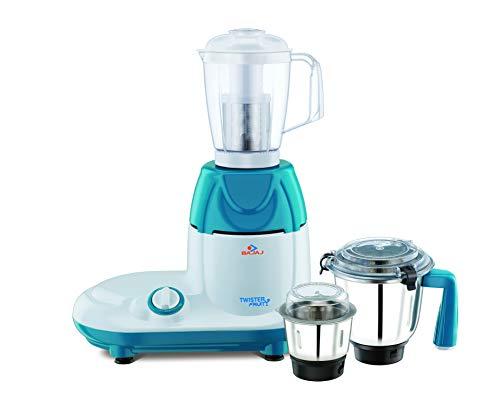 Bajaj Twister Fruity 750-Watt Mixer Grinder with 3 Jars (White/Blue)