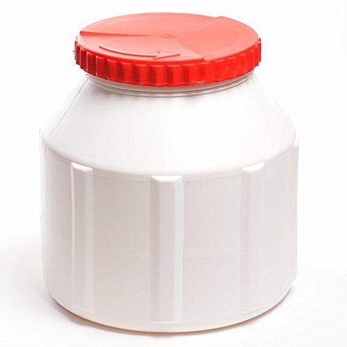 wellenshop Weithalsfass 12 Liter mit Schraubverschluss Kunststoff PE Weiß Rot Wasserdicht Kanutonne Fass Tonne Boot Aufbewahrung