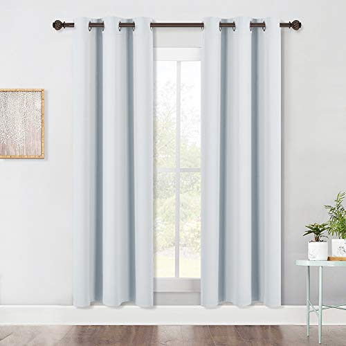 NICETOWN Room Darkening Window Curtain Panels, Easy-Care Solid Thermal Insulated Grommet Room Darkening Draperies/Drapes for Bedroom (2 Panels, 42 by 72, Platinum-Greyish White)