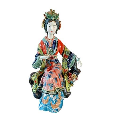 AIJOAN-BJ Statuen Dekoration Statuen Und Skulpturen Klassische Handwerk Gemalte Kunst Weibliche Figur Statue Keramik Antike Chinesische Engel Porzellanfigur Hauptdekorationen