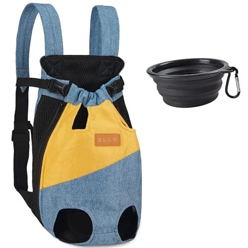 Mochila transportadora para perros pequeños, medianos, gatos, mochila ajustable en el pecho para mascotas, bolsa de viaje, malla transpirable con patas hacia afuera + 1 cuenco plegable (XXL, a