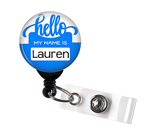 Retractable Badge Reel - Hello My Name is Blue - Personalized Name - Badge Holder/Nurse Gift/Teacher Gift/Stocking Stuffer