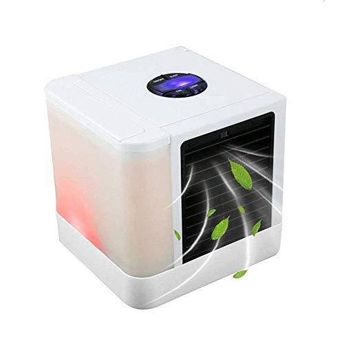 LIANGANAN USB Fan, Aire acondicionado Mini portátil USB ventilador de escritorio del refrigerador del Espacio humidificador de aire y purificador de aire más frío (Color: Blanco, Tamaño: 14x14x14.5cm)