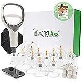 BACKLAxx® Schröpfset mit Vakuumpumpe - 12 Schröpfgläser aus Kunststoff zur Faszientherapie und...