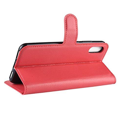 betterfon | Huawei Y6 2019 Hülle Handy Tasche Handyhülle Etui Wallet Case Schutzhülle mit Magnetverschluss/Kartenfächer für Y6 2019 Rot