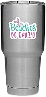 Beaches Be Crazy Mermaid Tail (2 Pack) Vinyl Decal Sticker - Car Truck Van SUV Window Wall Cup Laptop - Two 3 Inch Decals - MKS1170