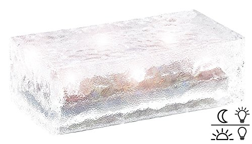 Lunartec LED Pflasterstein: Solar-Glasbaustein mit LED & Lichtsensor, 19,5 x 9,8 x 6 cm (LED Steine)