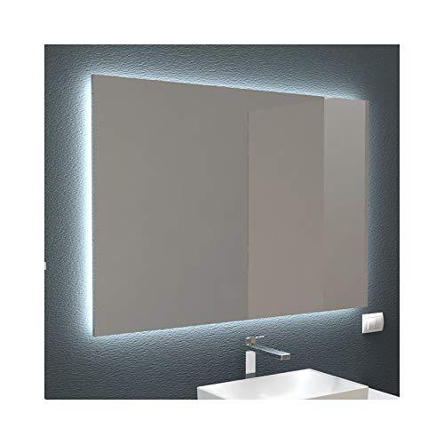 Miroir rétro-éclairé à LED, décoration de salle de bain et maison de différentes tailles, design minimaliste (100 x 70 cm)