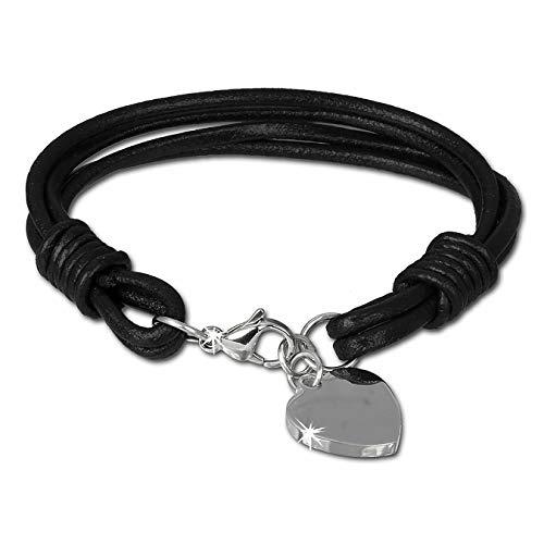 SilberDream Lederarmband Edelstahl Herz schwarz für Damen oder Herren Leder Stahl Armband Echtleder LAP005S