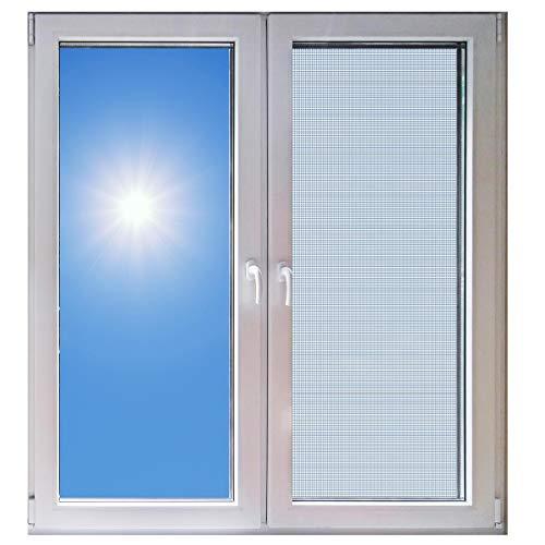 TRIOSK Hitzeschutz Fenster Außen ohne Bohren Sonnenschutz Rahmen Bausatz 130x150 cm zum Einhängen Mückengitter ohne Kleben Weiß