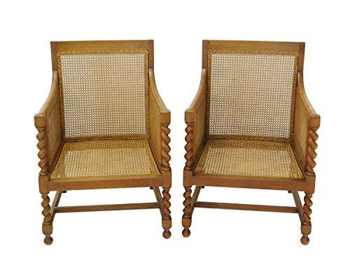 Antike Fundgrube 2 Armlehnstühle Sessel Clubsessel 30er Jahre aus Eiche mit Geflecht (8409)