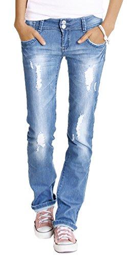 bestyledberlin Damen Jeans Hosen, Hüftjeans zerrissen j28x 38/M