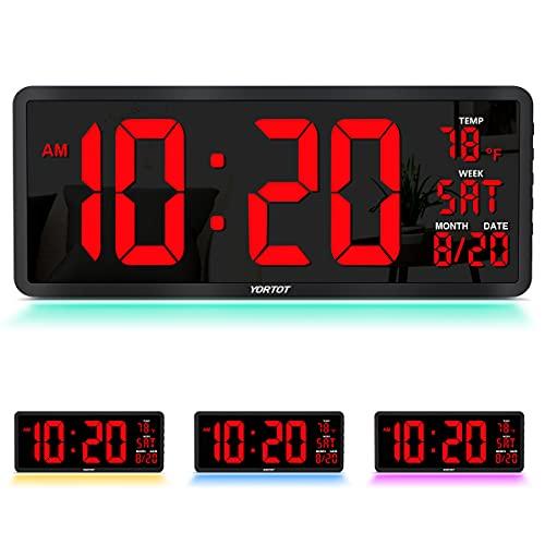 "YORTOT 16"" Large Digital Wall Clock with Remote Control, 4 Level Brightness, 7 Color Decor Night..."