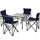 <span class='highlight'><span class='highlight'>Outsunny</span></span> 5 Piece Camping Table & Chairs Set with Carrying Bag Foldable Portable Lightweight Compact Aluminium Roll-up Top