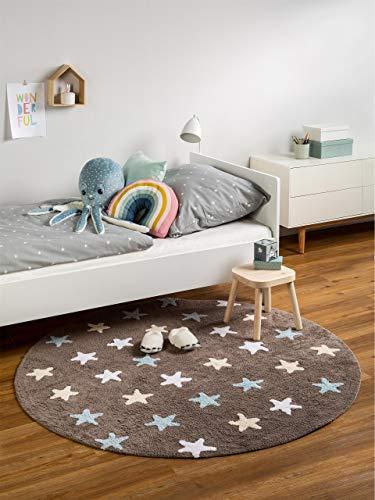 Benuta Kinderteppich Bambini Stars Durchmesser 150 cm Rund, Baumwolle, Blau, 150 x 150 x 2 cm