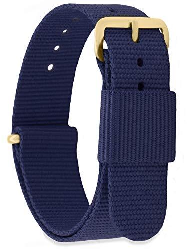 MOMENTO Correa de Reloj de Nato Nailon para Mujer y Hombre con Hebilla de Acero Inoxidable en Dorada Amarilla con Tela Azul Oscura en 16mm