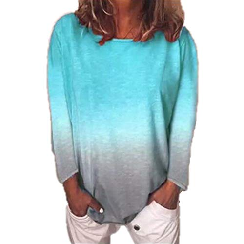 Generice - Camiseta de manga larga para mujer, diseño de degradado arcoíris Color de la foto-6 M
