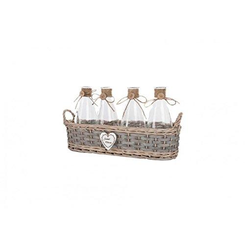 dcasa - Set 4 Botes cristal de cocina con cesta de minbre...