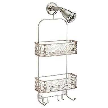 InterDesign Vine Hanging Shower Caddy – Bathroom Storage Shelves for Shampoo, Conditioner and Soap, Satin