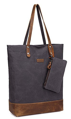 Leather Canvas Tote Bag,VASCHY Large Work Bag with Padded 15.6 Inch Laptop Sleeve Shopper Bag for Women Handbag -Grey