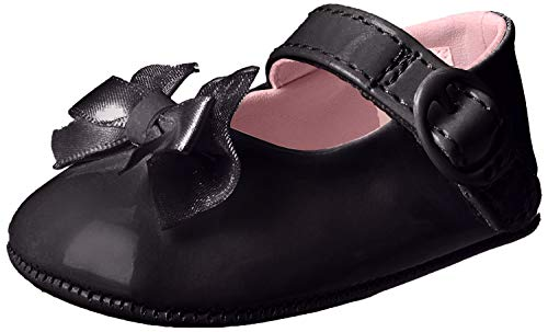 Baby Deer Patent SM With Bow Mary Jane (Infant),Black,3 M US Infant