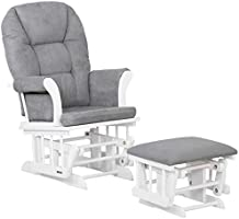 Lennox Furniture Charlotte Glider Chair and Ottoman Combo, White with Grey