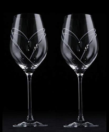 Dranex Lot de 2 verres en cristal en forme de cœur avec cristaux Swarovski découpés à la main
