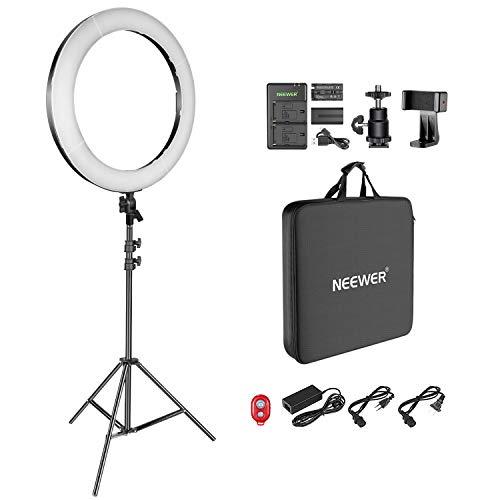 Neewer Kit LED Luce dell'Anello 48cm per Trucco Youtube Video Blogger Salon Regolabile Temperatura di Colore con Opzione di Alimentazione, Batteria, Caricabatterie USB, Alimentatore CA