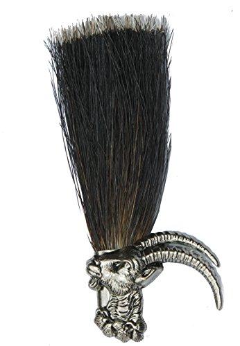 Breiter Hutanstecker | Hutabzeichen | Hutschmuck | Anstecker – Steinbock mit Gamsbart-Imitat – 8,5 cm