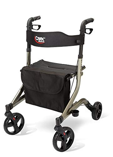 Carex Crosstour Rolling Walker Rollator - Rolling Walker with Seat - Folding, Euro Style Rollator, 4 Wheel Walker for Seniors- 300lb Capacity