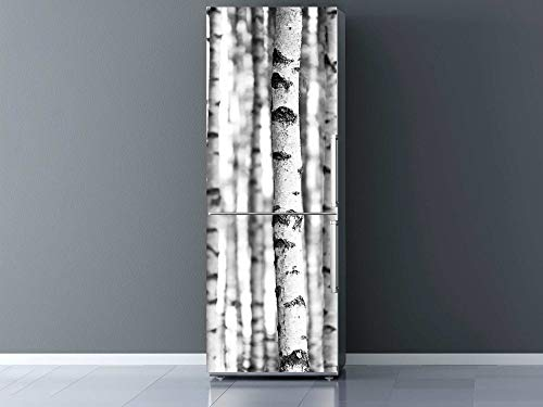 Oedim Vinilo para Frigorífico Troncos de Árboles Blanco y Negro 185x60cm | Adhesivo Resistente y Económico | Pegatina Adhesiva Decorativa de Diseño Elegante